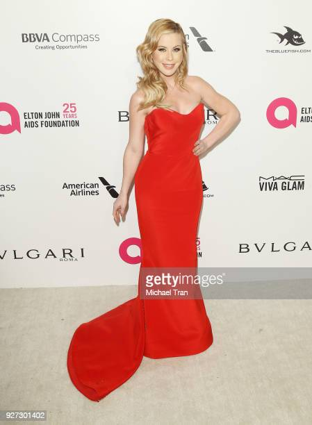 Tara Lipinski arrives to the 26th Annual Elton John AIDS Foundation's Academy Awards Viewing Party held at West Hollywood Park on March 4 2018 in...