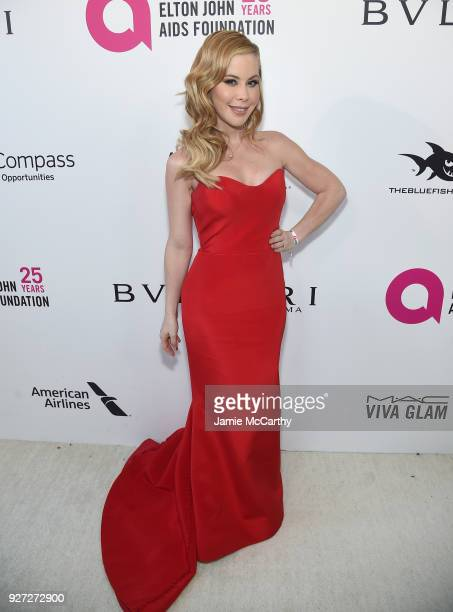 Tara Lipinski attends the 26th annual Elton John AIDS Foundation Academy Awards Viewing Party sponsored by Bulgari, celebrating EJAF and the 90th...