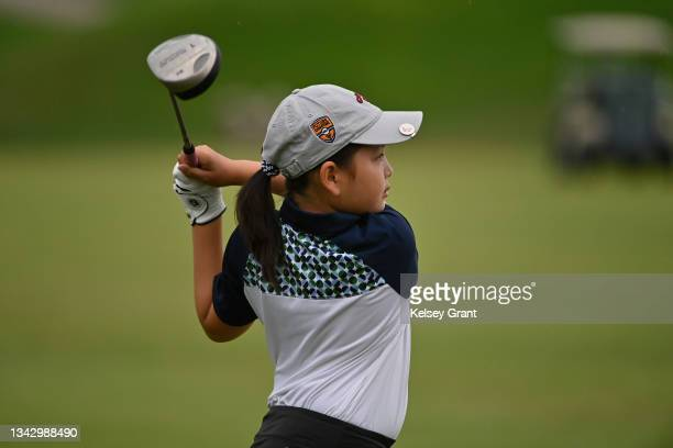 Tara Liu of the girls 7-9 category attempts a drive during the 2021 Drive, Chip and Putt Regional Qualifier at TPC Scottsdale on September 26, 2021...