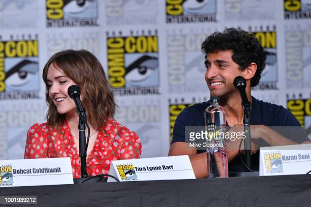 Tara Lynne Barr and Karan Soni speak onstage at Bobcat Goldthwait's Misfits and Monsters panel during ComicCon International 2018 at San Diego...