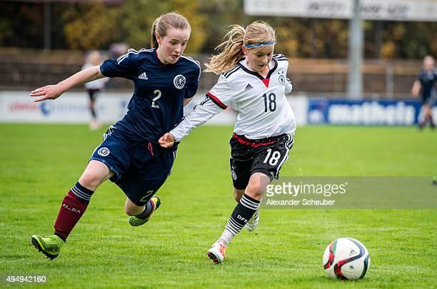 Tara McGonigle of Scotland challenges Vanessa Fudalla of Germany during the international friendly match between U15 Girl's Germany and U15 Girl's...
