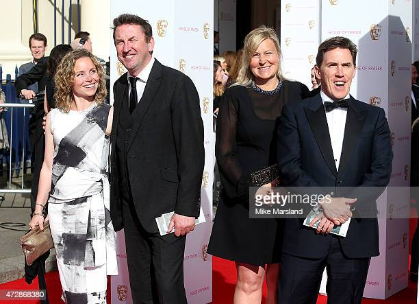 Tara McKillop Lee Mack Clare Holland and Rob Brydon attend the House of Fraser British Academy Television Awards at Theatre Royal on May 10 2015 in...
