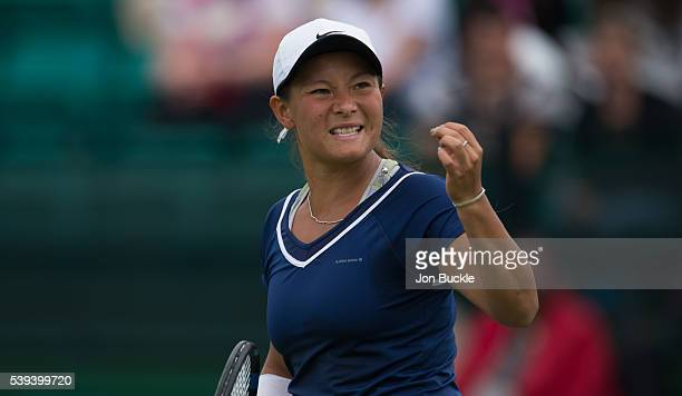 Tara Moore of Great Britain becomes frustrated during her match against Saisai Zheng of China on day six of the WTA Aegon Open on June 11 2016 in...