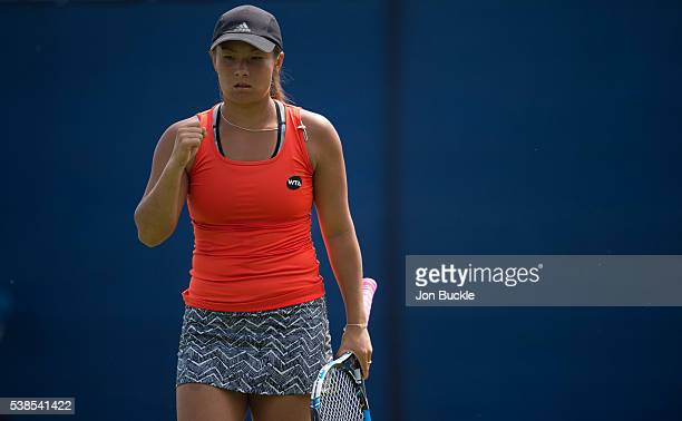 Tara Moore of Great Britain celebrates set point during her women's singles match against Donna Vekic of Croatia on day two of the WTA Aegon Open on...