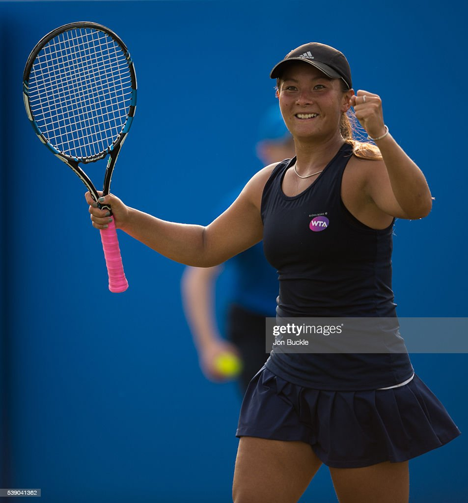 Tara Moore of Great Britain celebrates victory during her match against Christina McHale of USA on day four of the WTA Aegon Open on June 9, 2016 in Nottingham, England.