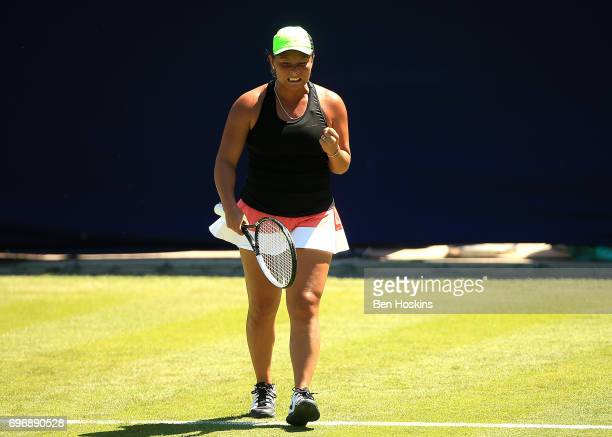 Tara Moore of Great Britain celebrates winning a game during the qualifying match against Petra Krejsova of The Czech Republic at Edgbaston Priory...