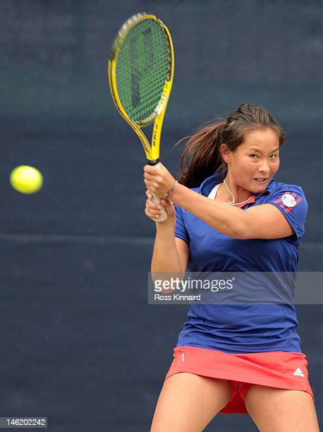 Tara Moore of Great Britain hits a forehand during day two of the AEGON Classic at Edgbaston Priory Club on June 12 2012 in Birmingham England