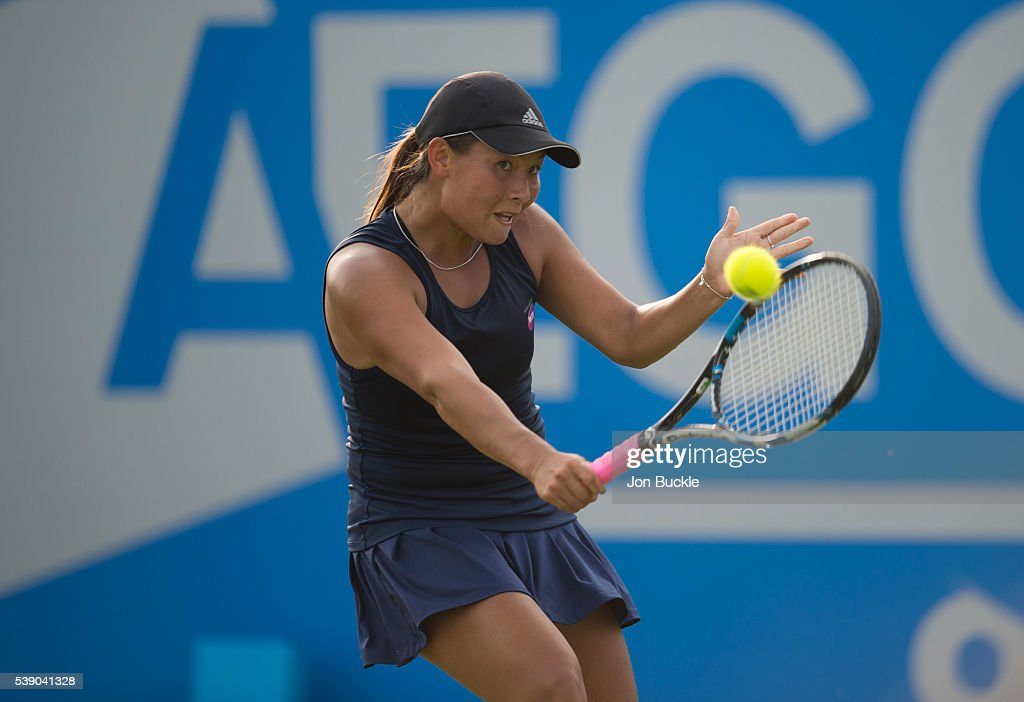 Tara Moore of Great Britain in action during her match against Christina McHale of USA on day four of the WTA Aegon Open on June 9, 2016 in Nottingham, England.