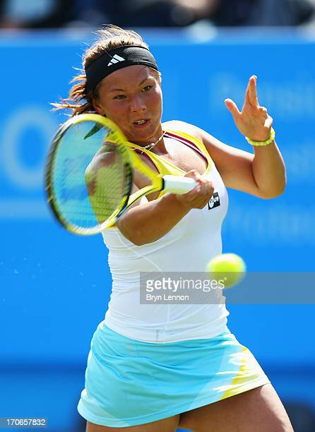 Tara Moore of Great Britain returns in her women's singles qualifying match against Karolina Pliskova of Czech Republic during day two of the AEGON...