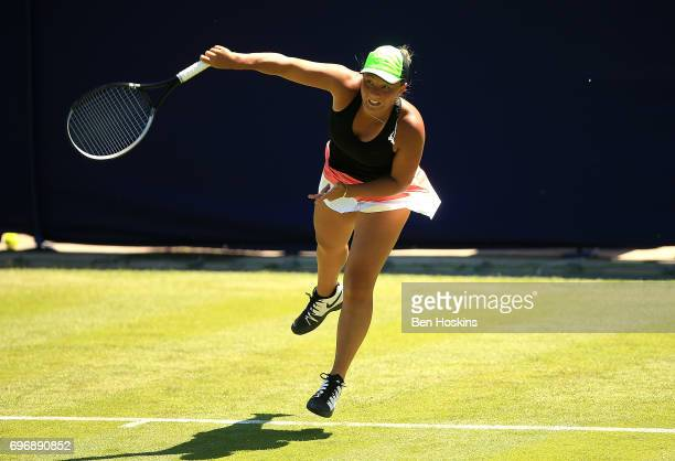 Tara Moore of Great Britain serves during the qualifying match against Petra Krejsova of The Czech Republic at Edgbaston Priory Club on June 17 2017...
