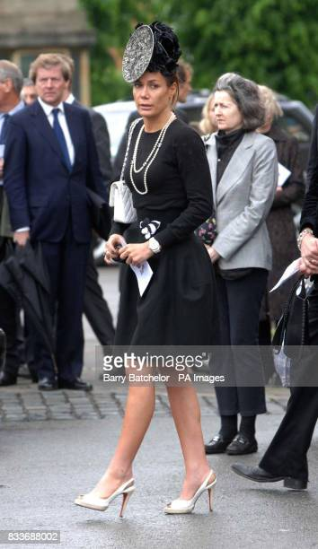 Tara Palmer Tomkinson outside Gloucester Cathedral where she attended the funeral service of Isabella Blow