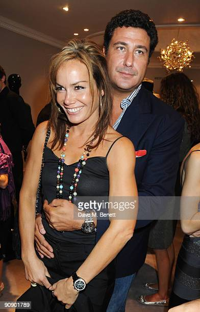 Tara PalmerTomkinson and boyfriend Eduardo TeodoraniFabbri attend the Hervé Léger by Max Azria London Store Launch Party on September 17 2009 in...