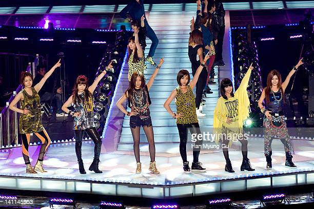 Tara perform on the stage during a concert at the KPOP Fashion Concert on March 11 2012 in Seoul South Korea