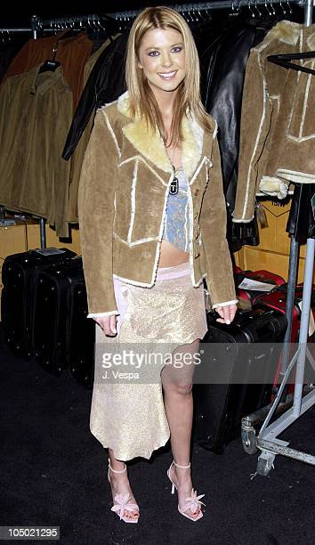 Tara Reid in Wilson's Leather coat during 2002 Billboard Music Awards Backstage Creations Talent Retreat Show Day at MGM Grand Hotel in Las Vegas...
