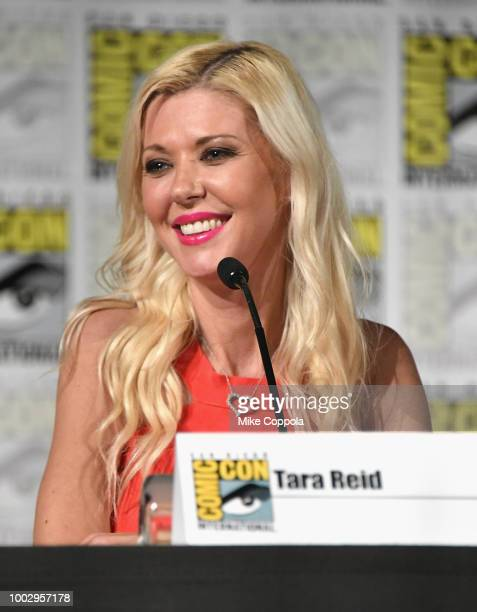 Emily Longeretta Ian Ziering and Tara Reid speak onstage at 'The Last Sharknado Its About Time' panel during ComicCon International 2018 at San Diego...