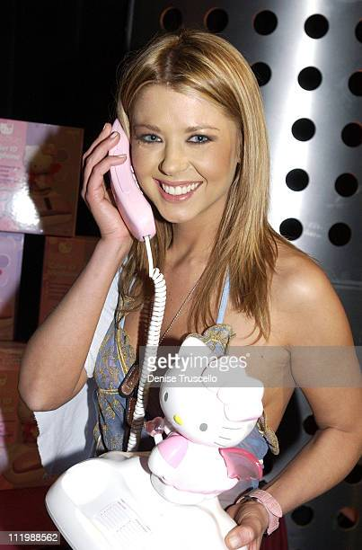 Tara Reid with Hello Kitty phone during 2002 Billboard Music Awards Backstage Creations Talent Retreat Show Day at MGM Grand Hotel in Las Vegas...