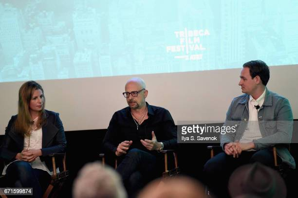 Tara Rush Joshua David and Archie Lee Coates IV speak on stage at The Cities Project by Heineken on April 22 2017 in New York City
