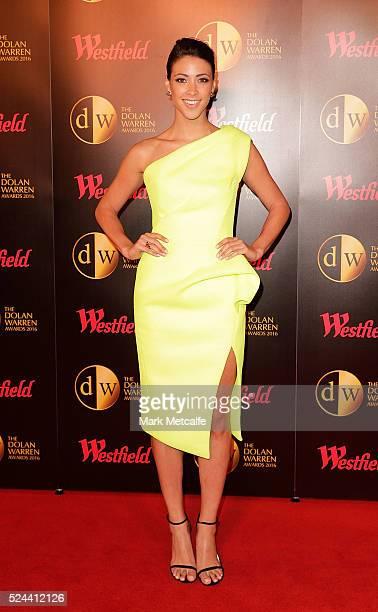 Tara Rushton arrives ahead of the 2016 FFA Dolan Warren Awards at Carriageworks on April 26 2016 in Sydney Australia