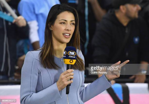 Tara Rushton commentates from sidelines during the round one ALeague match between the Melbourne Victory and Sydney FC at Etihad Stadium on October 7...