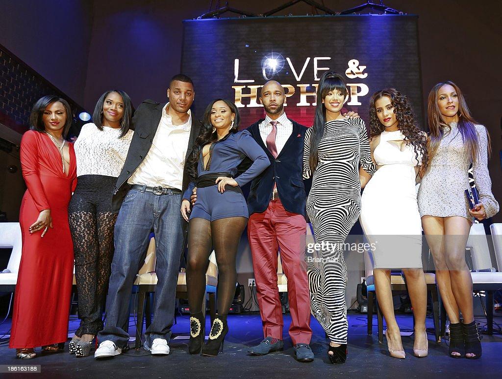 Tara Wallace, Yandy Smith, Rich Dollaz, Tahiry, Joe Budden, Erica Mena, Cyn Santana, and Amina Buddafly appear at the VH1 'Love & Hip Hop' Season 4 Premiere at Stage 48 on October 28, 2013 in New York City.