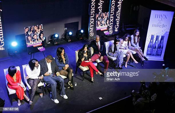 Tara Wallace Yandy Smith Rich Dollaz Tahiry Joe Budden Erica Mena Cyn Santana and Amina Buddafly appear at the VH1 Love Hip Hop Season 4 Premiere at...