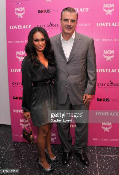 Tara Wilson and actor Chris Noth attend The Cinema Society and MCM with Grey Goose screening of Radius TWC's Lovelace at MoMA on July 30 2013 in New...