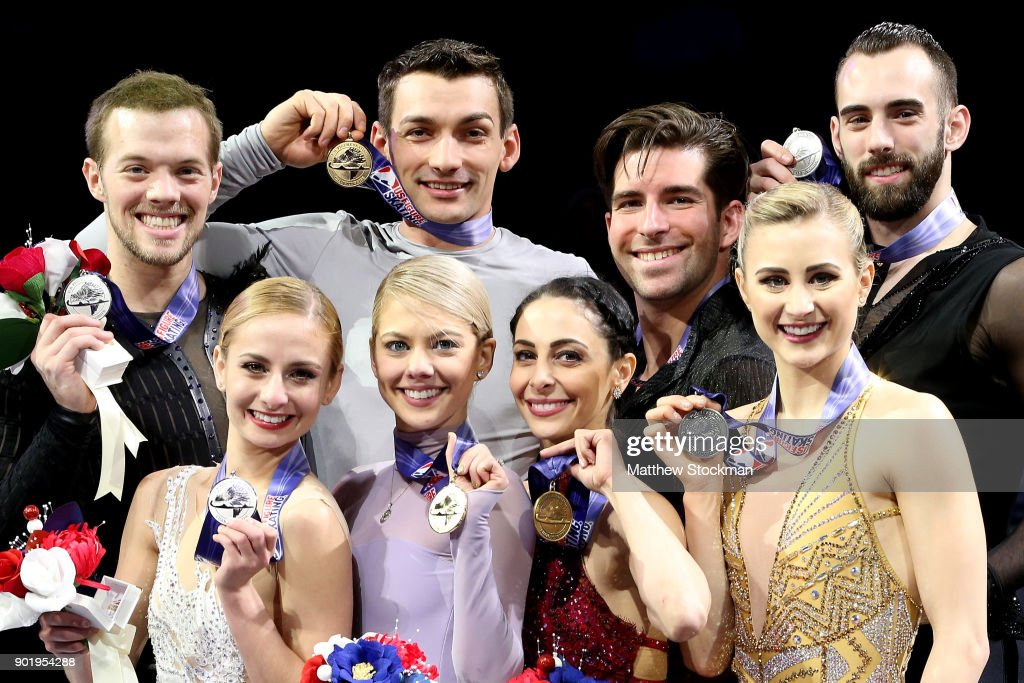 Tarah Kayne and Danny O'Shea, Alexa Scimeca-Knierim and Christopher Knierim, Deanna Stellato-Dudek and Nathan Bartholomay, Ashley Cain and Timothy LeDuc pose on the medals podium after the Championship Pairs during the 2018 Prudential U.S. Figure Skating Championships at the SAP Center on January 6, 2018 in San Jose, California.