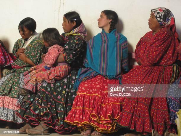 Tarahumara Indian women in Nararachi church for St Guadalupe in Chihuahua, Mexico.