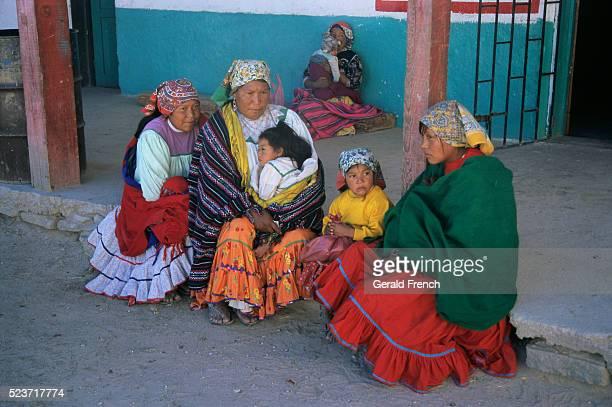 Tarahumara Women and Girls in Traditional Clothing
