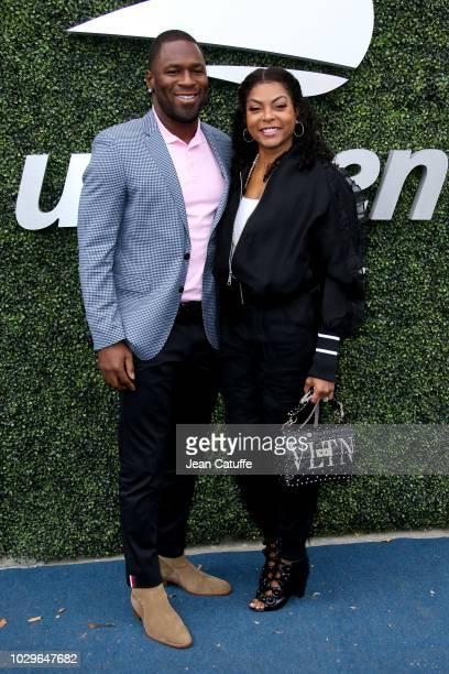 Taraji Henson and boyfriend Kelvin Hayden attend the women's final on day 13 of the 2018 tennis US Open on Arthur Ashe stadium at the USTA Billie...