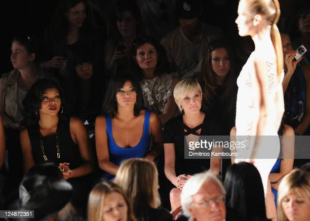 Taraji Henson, Katie Cassidy and Ashlee Simpson attend the Herve Leger by Max Azria Spring 2012 fashion show during Mercedes-Benz Fashion Week at The...