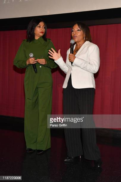 Taraji P Henson and Dominique Telson attend 'The Best Of Enemies' Atlanta screening at Regal Atlantic Station on March 20 2019 in Atlanta Georgia