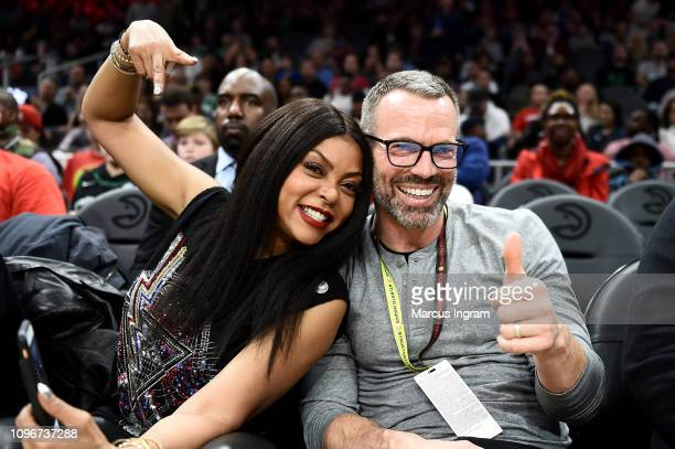 Taraji P Henson and fan attend Atlanta Hawks Vs Boston Celtics game in partnership with 'What Men Want' at State Farm Arena on January 19 2019 in...