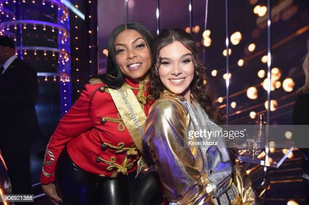 Taraji P Henson and Hailee Steinfeld pose backstage during Lip Sync Battle Live A Michael Jackson Celebration at Dolby Theatre on January 18 2018 in...