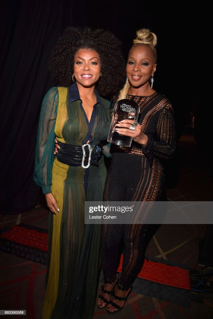 Taraji P. Henson (L) and honoree Mary J. Blige, recipient of the Icon Award, attend Billboard Women In Music 2017 at The Ray Dolby Ballroom at Hollywood & Highland Center on November 30, 2017 in Hollywood, California.