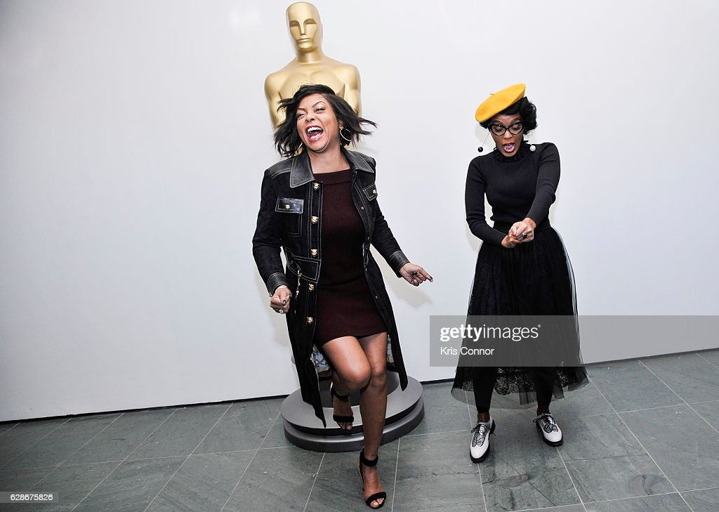 Taraji P. Henson, and Janelle Monae attend an official academy screening of HIDDEN FIGURES hosted by the The Academy of Motion Picture Arts and Sciences at MOMA - Celeste Bartos Theater on December 8, 2016 in New York City.