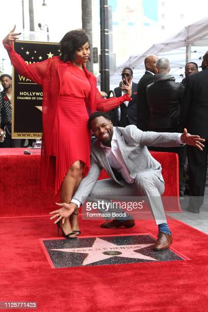 Taraji P Henson and Kelvin Hayden attend a ceremony honoring Taraji P Henson with a star on The Hollywood Walk of Fame on January 28 2019 in...