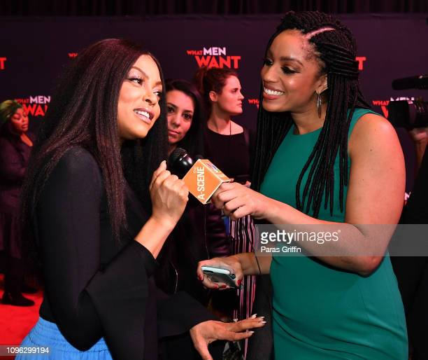Taraji P Henson and media personality Francesca Amike attend a special screening of 'What Men Want' at Regal Atlantic Station on January 18 2019 in...