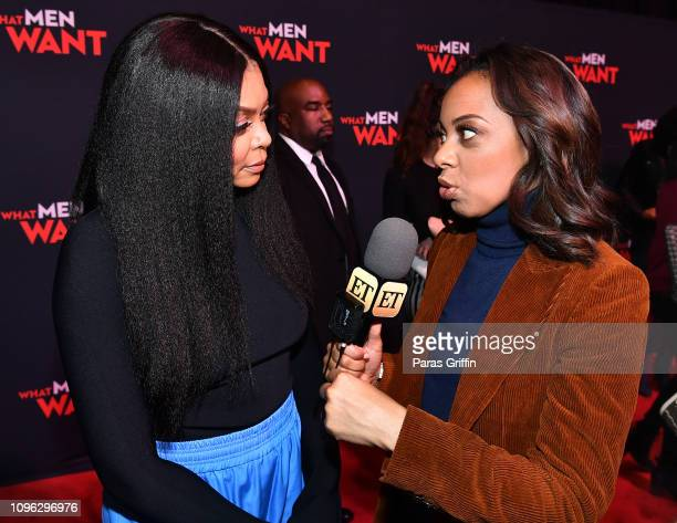 Taraji P Henson and Nischelle Turner attend a special screening of 'What Men Want' at Regal Atlantic Station on January 18 2019 in Atlanta Georgia