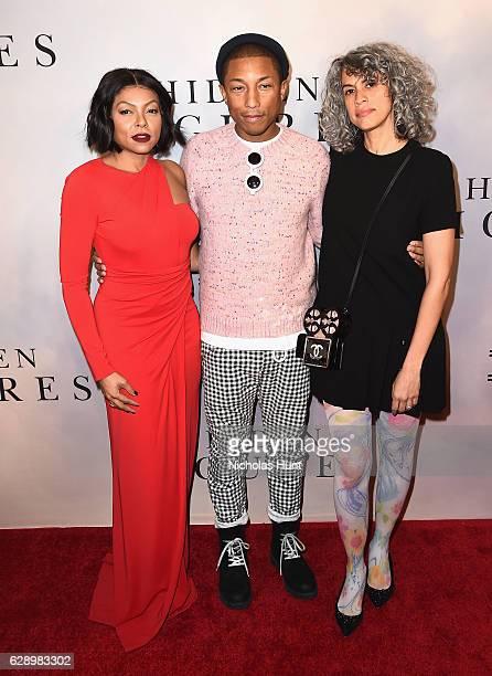 "Taraji P. Henson and Pharrell Williams attend the ""Hidden Figures"" New York Special Screening on December 10, 2016 in New York City."