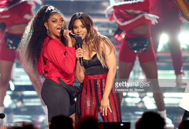 Taraji P Henson and Regina Hall perform onstage at the 2019 BET Awards at Microsoft Theater on June 23 2019 in Los Angeles California
