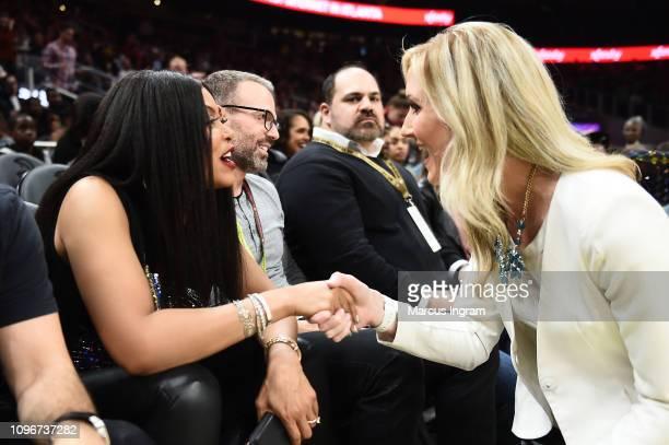 Taraji P Henson and Reporter Rebecca Kaple attend Atlanta Hawks Vs Boston Celtics game in partnership with 'What Men Want' at State Farm Arena on...