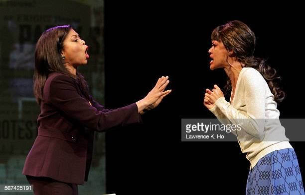 """Taraji P. Henson as Jane and Kristy Johnson as Monique in the dress rehearsal of the play """"Above the Fold"""" at Pasadena Playhouse in Pasadena on Jan...."""