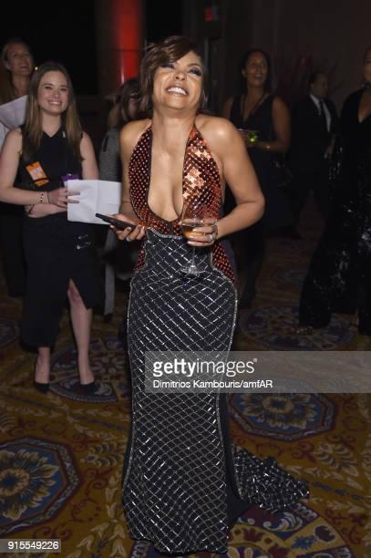 Taraji P Henson attends the 2018 amfAR Gala New York at Cipriani Wall Street on February 7 2018 in New York City