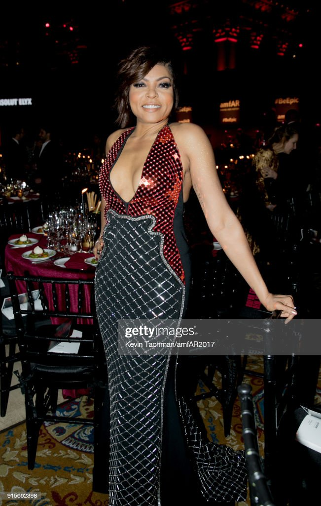 Taraji P. Henson attends the 2018 amfAR Gala New York at Cipriani Wall Street on February 7, 2018 in New York City.