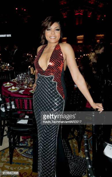 Taraji P Henson attends the 2018 amfAR Gala New York at Cipriani Wall Street on February 7 2018 in New York City