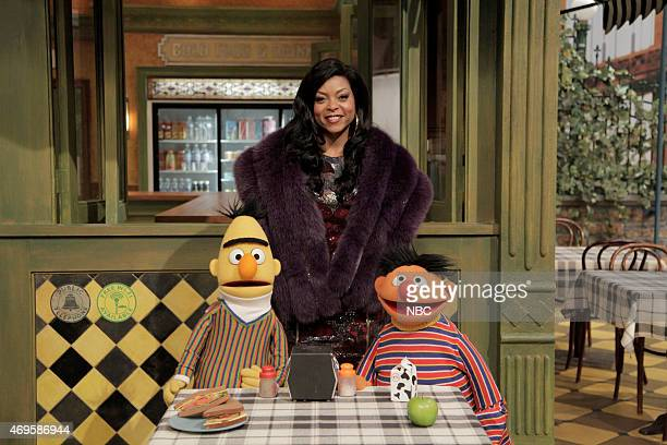 LIVE 'Taraji P Henson' Episode 1680 Pictured Bert Taraji P Henson as Cookie and Ernie during the 'Sesame Street Promo' skit on April 11 2015
