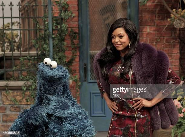 "Taraji P. Henson"" Episode 1680 -- Pictured: Cookie Monster and Taraji P. Henson as Cookie during the ""Sesame Street Promo"" skit on April 11, 2015 --"