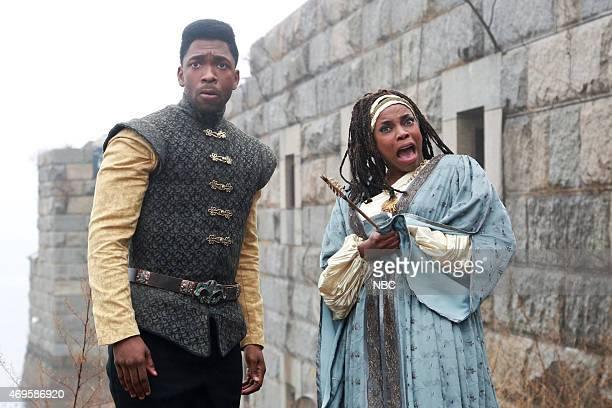 LIVE 'Taraji P Henson' Episode 1680 Pictured Jay Pharoah and Sasheer Zamata during the 'Game of Thrones' skit on April 11 2015