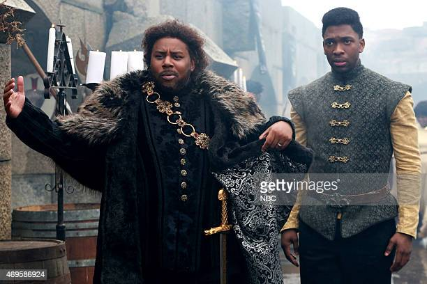 LIVE 'Taraji P Henson' Episode 1680 Pictured Kenan Thompson and Jay Pharoah during the 'Game of Thrones' skit on April 11 2015